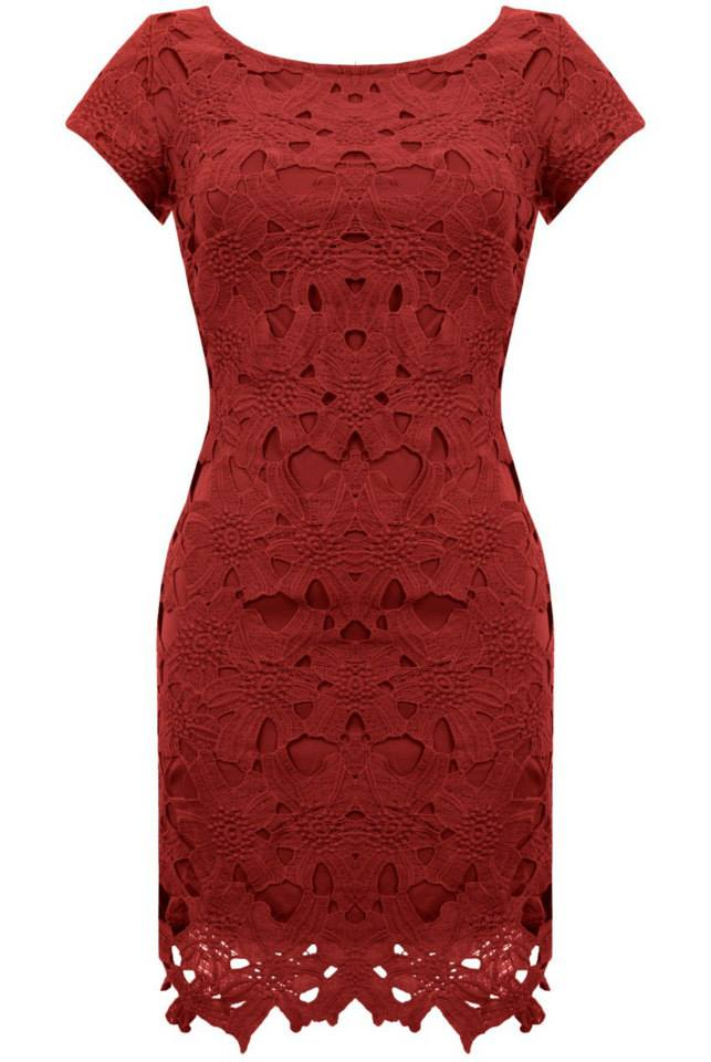 Lace shift dress in Berry