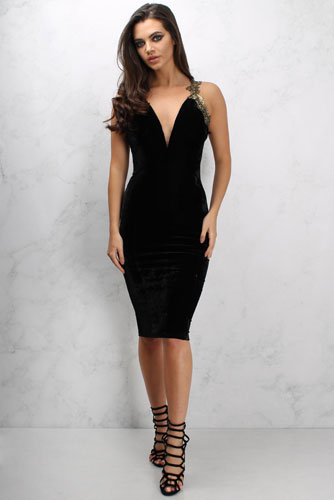 black plunge neck dress