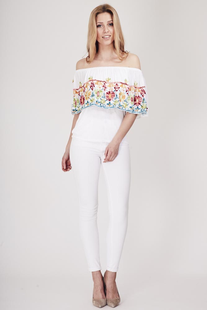 Boho Embroidered Bardot Top