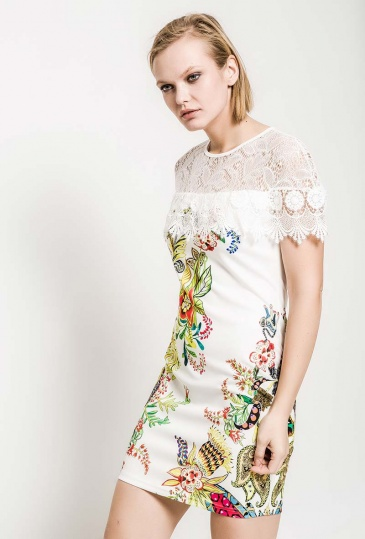 Lace Neckline Floral Shift Dress