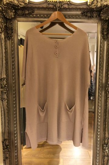 Button Ribbed Tunic Dress in Mocha