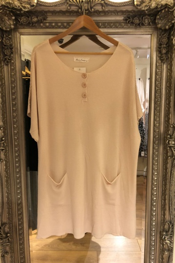 Button Ribbed Tunic Dress in Pink