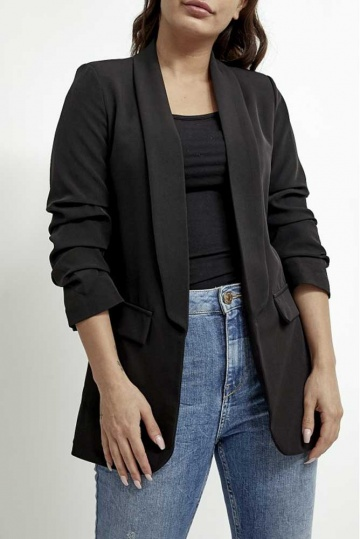 Eva Rouched Sleeve Blazer in Black