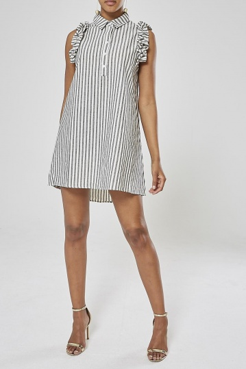 Frill Stripe Shirt Dress