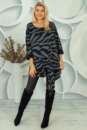 Grey Animal Print Tunic Dress