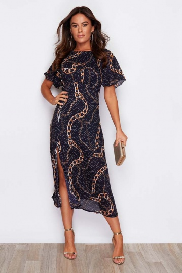 Angel Sleeve Chain Print Midi Dress