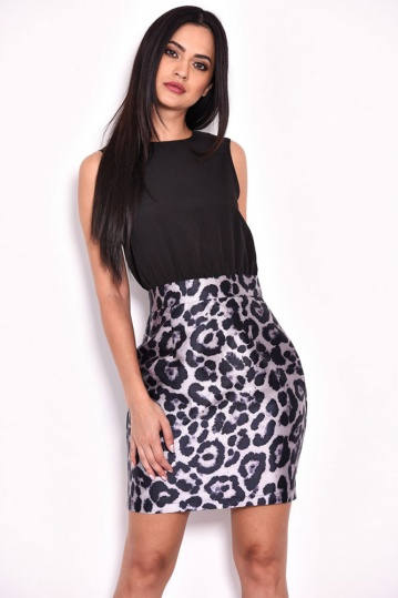 Animal Print 2 in 1 Party Dress
