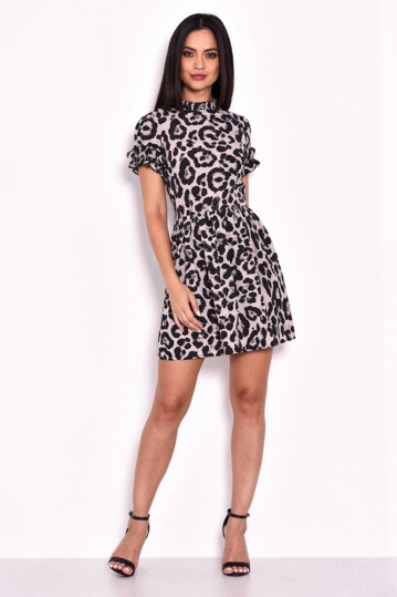 Animal Print Frill Dress