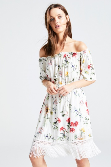 Bardot Floral Tassle Dress