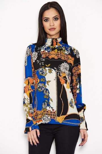 Baroque Printed High Neck Top
