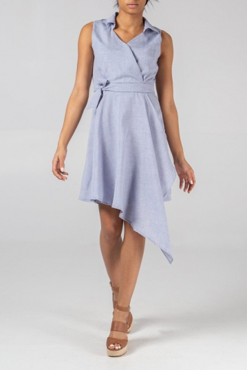 Marilyn Chambray Waterfall Dress