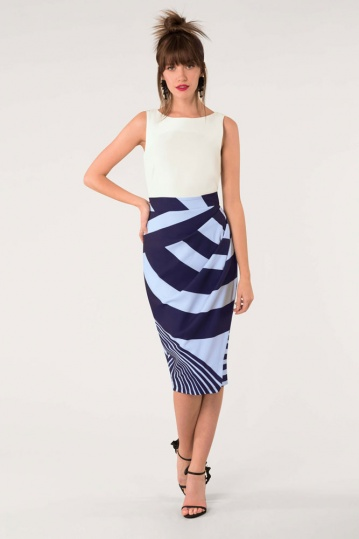 Closet 2 in 1 Pleated Navy Dress