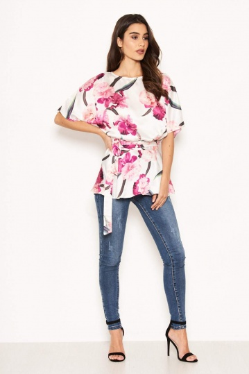 Floral Tie Belt Top
