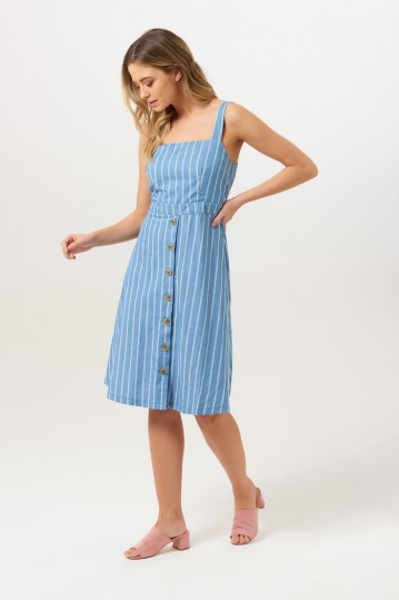 Sugarhill Boutique Rosa Chambray Stripe Sundress