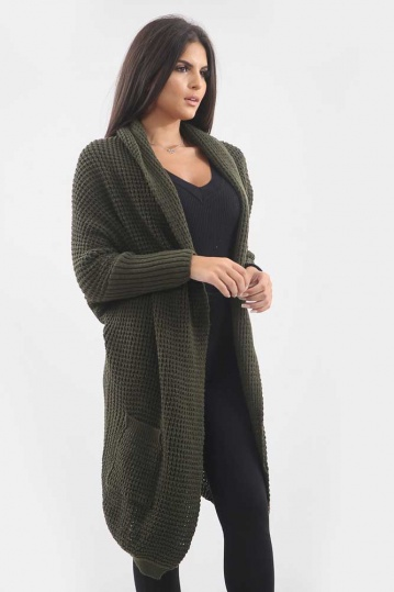 Pixie Edged Cardigan in Olive