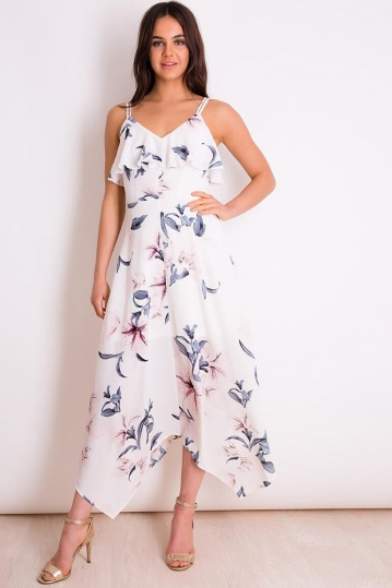 Lily Print Frill Strappy Maxi Dress