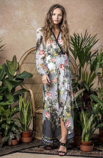 Hope and Ivy Mixed Print Wrap Maxi Dress