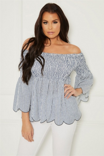 Jessica Wright Ramona Off Shoulder Stripe Top