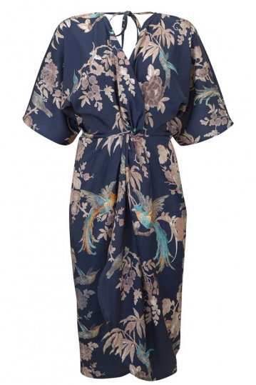 Hope and Ivy Navy Wrap Kimono Sleeve Dress
