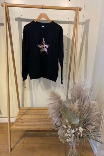 Neon Marl Leopard Star Sweatshirt in Black