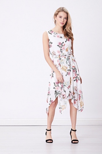 Vintage Floral High Low Dress