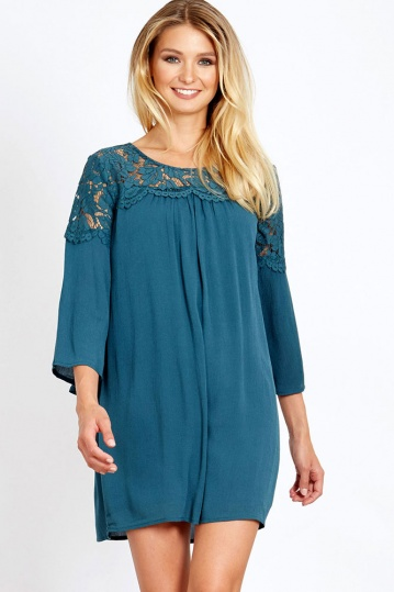 Lace Front Sleeved Swing Dress in Teal