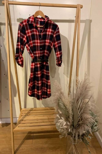 Navy and Red Check Shirt Dress