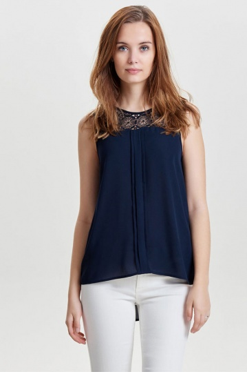Only Venice Lace Top in Navy