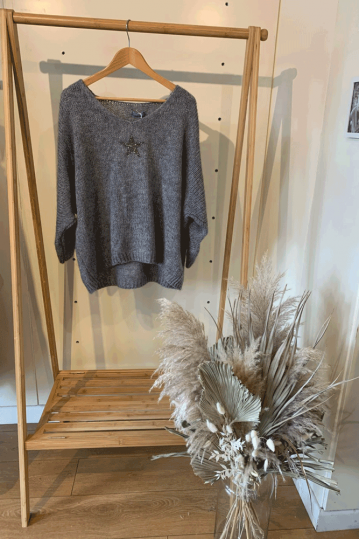 Penny Relaxed V Neck Star Jumper in Grey