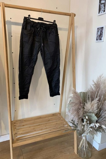 Pleather Magic Stretch Trouser in Black