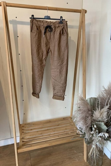 Pleather Magic Stretch Trouser in Tan