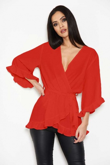 Wrap Over Frill Top