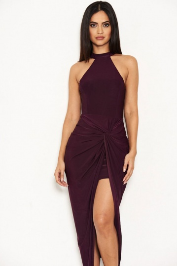 Ruched Wrap Over Dress