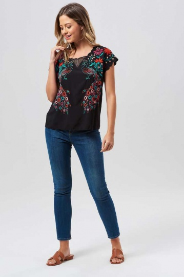 Sugarhill Brighton Peacocks Paradise Embroidered Top