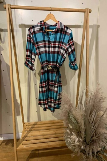 Turquoise Check Shirt Dress