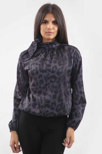 Animal Print Pussy Bow Blouse in Purple