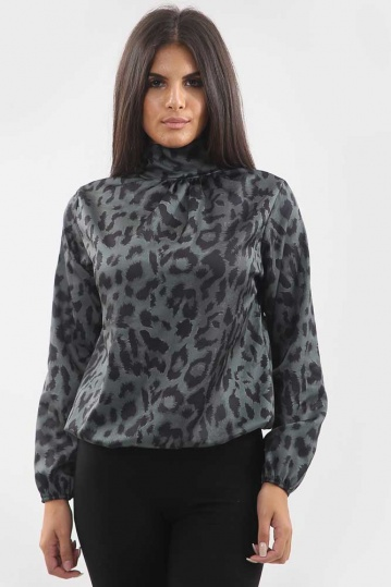 Animal Print Pussy Bow Blouse in Green