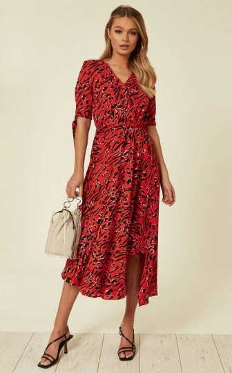 Animal Print Wrap Dress in Red