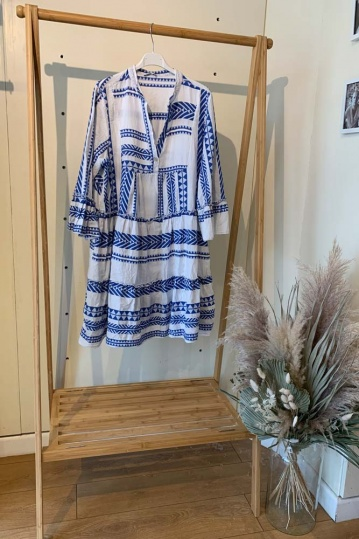 Mykonos Aztec Boho Dress in Blue