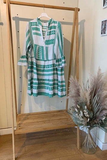 Mykonos Aztec Boho Dress in Green