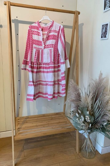 Mykonos Aztec Boho Dress in Pink