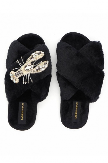 Laines London Black Lobster Brooch Slippers