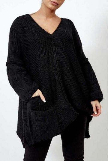 Asymmetric Oversized Jumper in Black