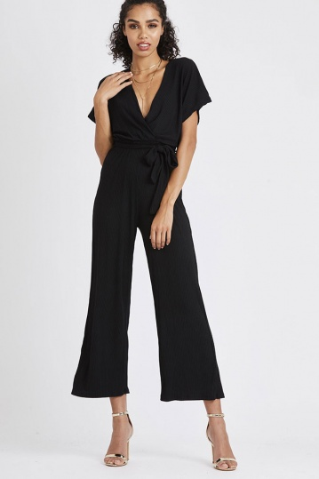 Black Ribbed Jumpsuit