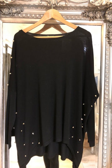 Studded Tunic Top in Black