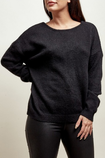 Sallie Bow Back Jumper in Black