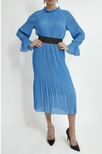 High Neck Pleated Dress in Blue