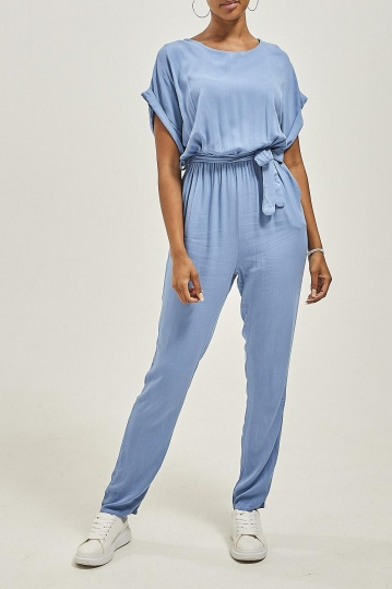 Short Sleeve Jumpsuit in Denim Blue