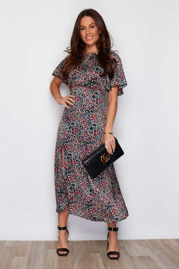 Angel Sleeve Teal Print Midi Dress
