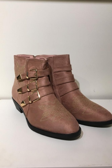 Side Buckle Studded Rose Gold Boot